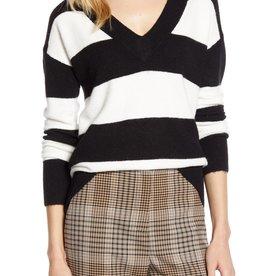 Halogen Halogen x Atlantic-Pacific Stripe V-Neck Sweater Sz L