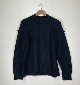 CeCe CeCe Dark Marine Navy Blue Pom Pom Sweater Size S