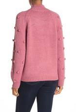 CeCe CeCe by Cynthia Steffe Pompom Sleeve Mock Neck Sweater Size M