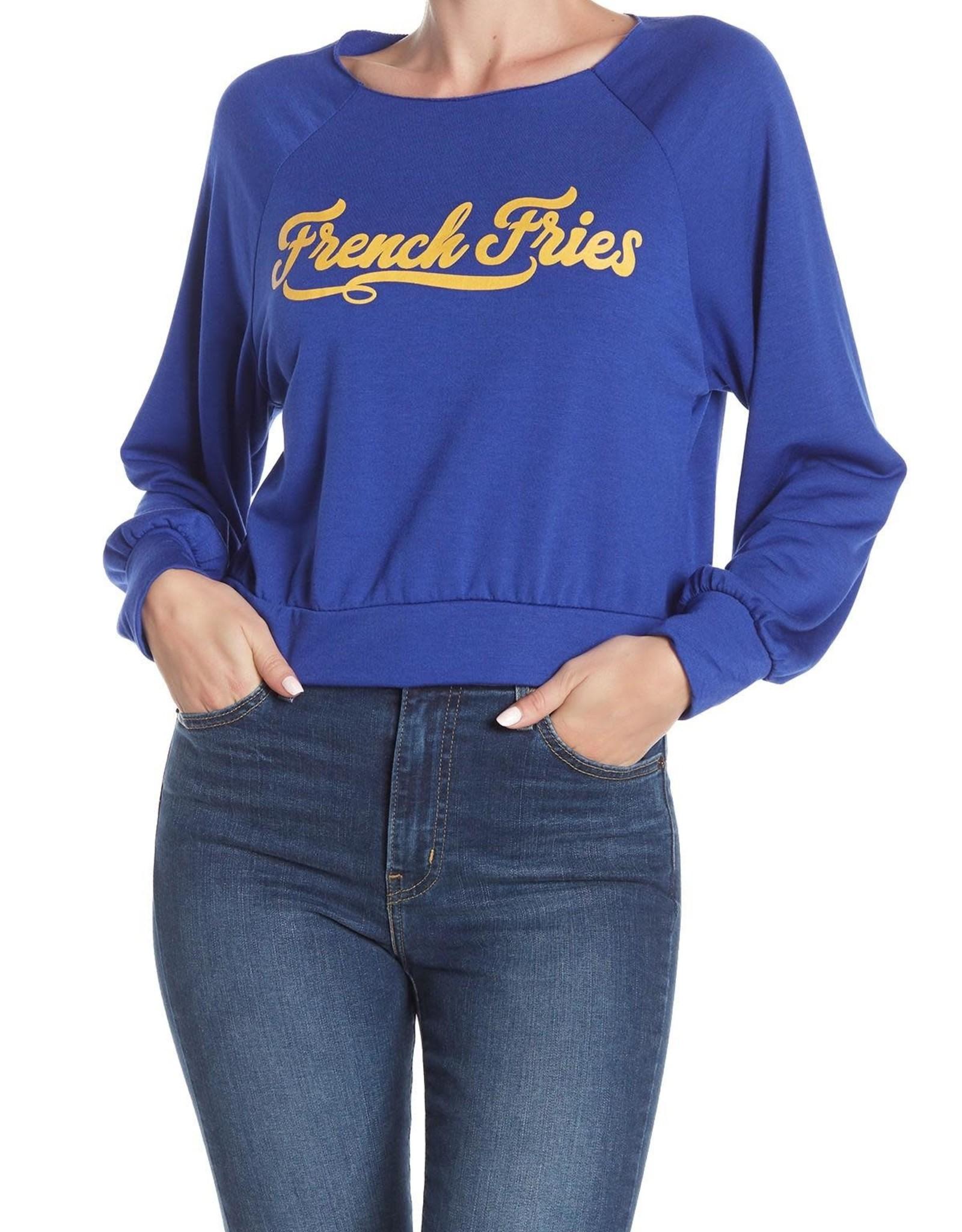 hiatus Hiatus Crewneck Blue Cropped French Fries Sweatshirt Sz L