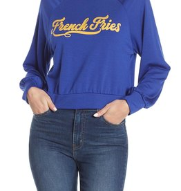 hiatus Hiatus Crewneck Blue Cropped French Fries Sweatshirt Sz L