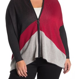 Joseph A Joseph A. Color block Zip Poncho Sweater Sz 2X