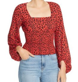 Charlie Holiday Charlie Holiday Penelope Red Leopard Blouse