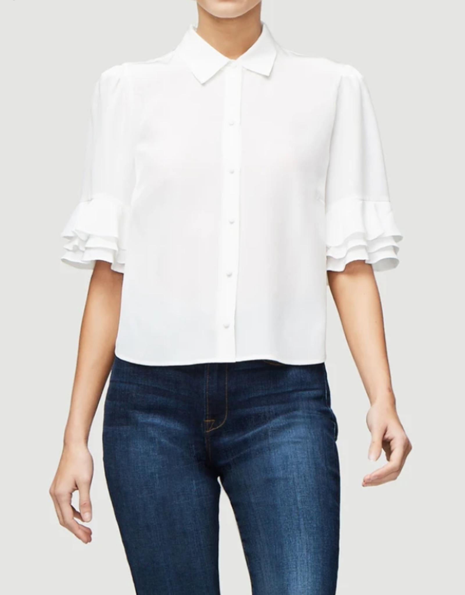 Frame E PM Frame Ruffle Sleeve Silk Blouse in Blanc