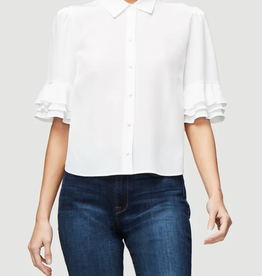 Frame Ruffle Sleeve Silk Blouse in Blanc
