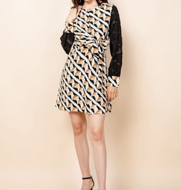 THML Sheer Printed Sleeve Dress