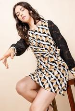 THML Sheer Printed Sleeve Dress