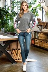 THML Fringe Trim Raglan Sweater