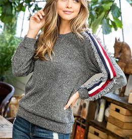 THML Fringe Trim Raglan Sweater