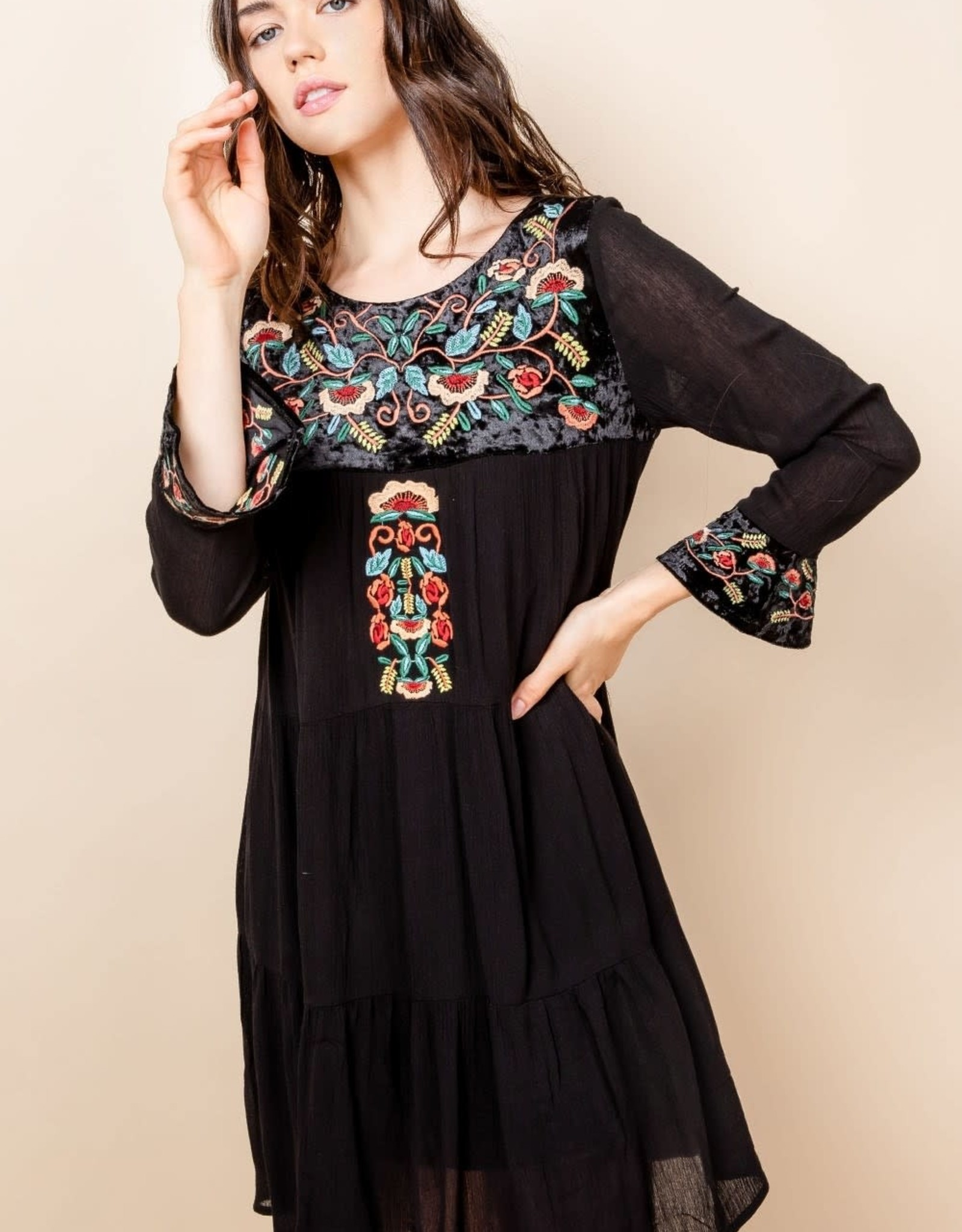 THML Embriodered Long Sleeve Dress