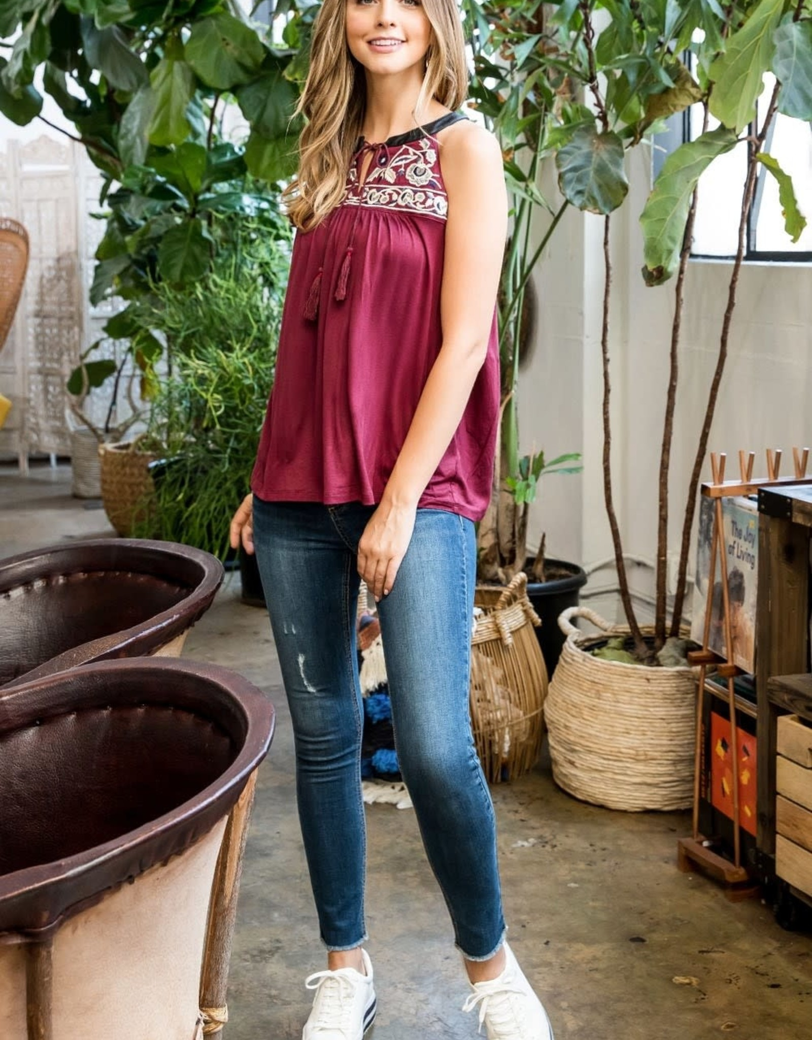 THML Embroidered Sequin Yoke Halter Top
