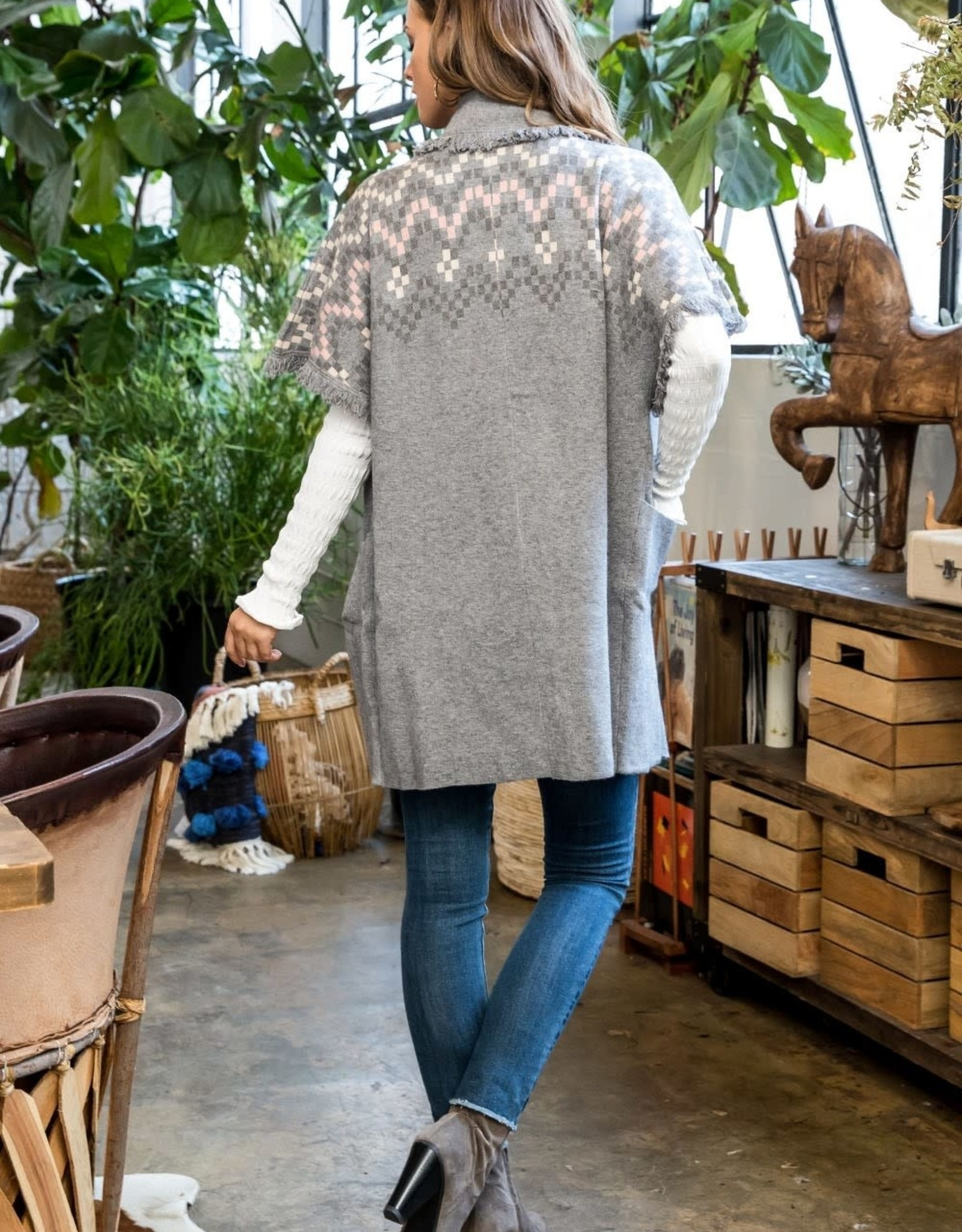 THML Woven Sleeve Oversized Cardigan