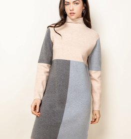 THML Colorblock Beige Long Sleeve Dress