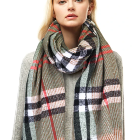 LOF Plaid Knit Oblong Scarf