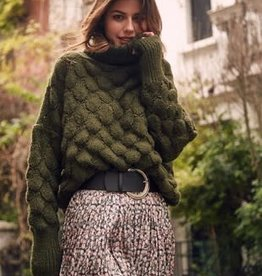 FRNCH NIKA Turtleneck Sweater in Green