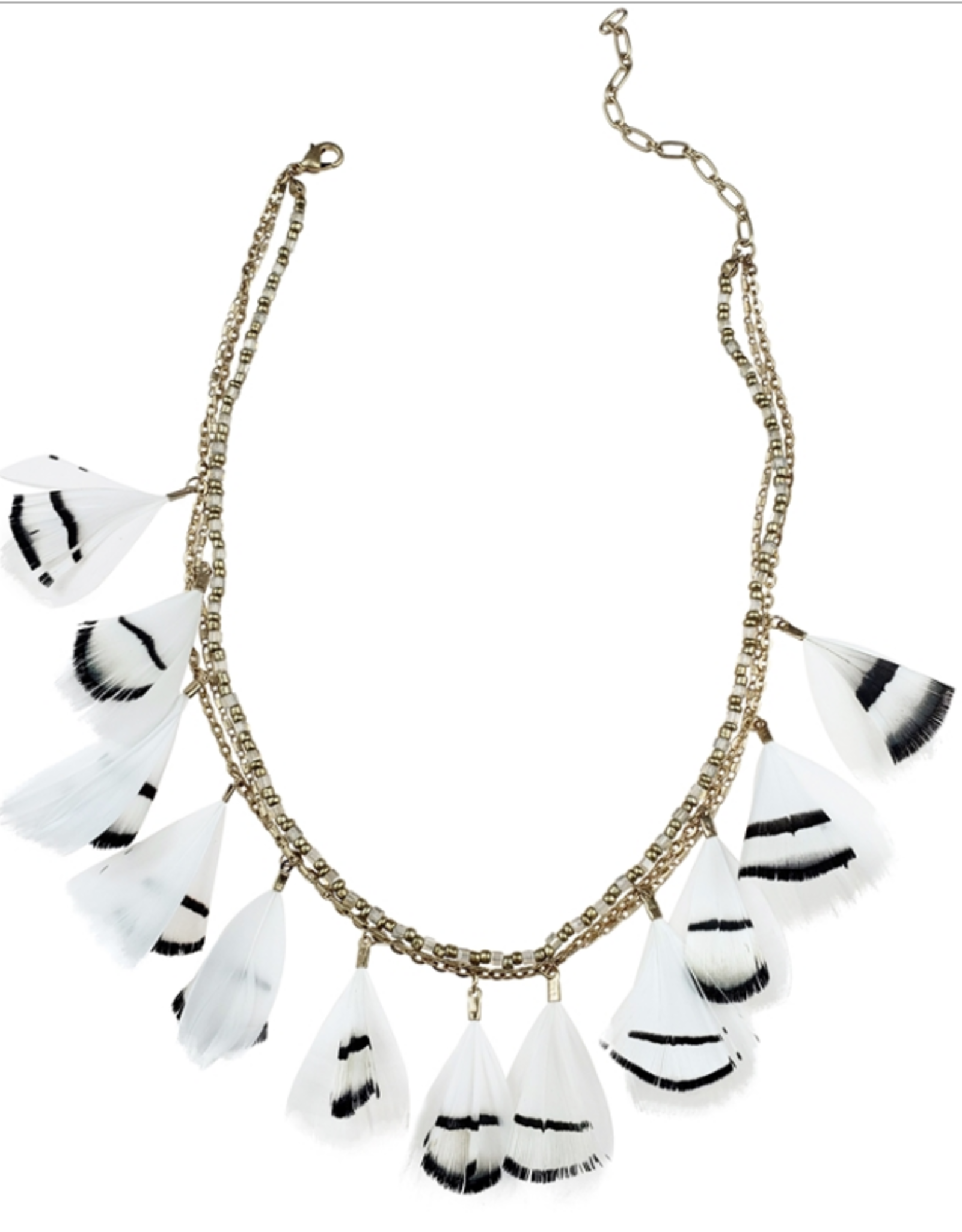 Sweet Lola Black and White Feather Necklace