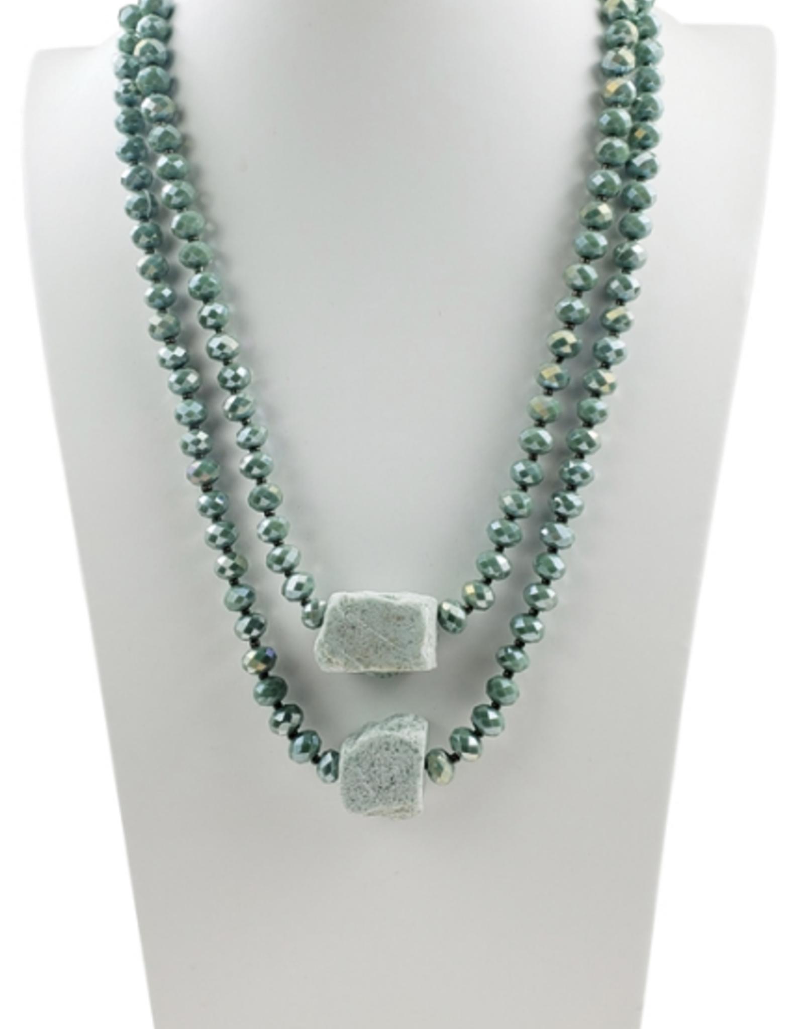 Sweet Lola Layered Seafoam with Raw Gemstone Necklace