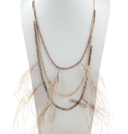 Sweet Lola Layered Pink Feather Necklace