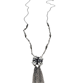 Sweet Lola Clear and Black Crystal Fringe Necklace