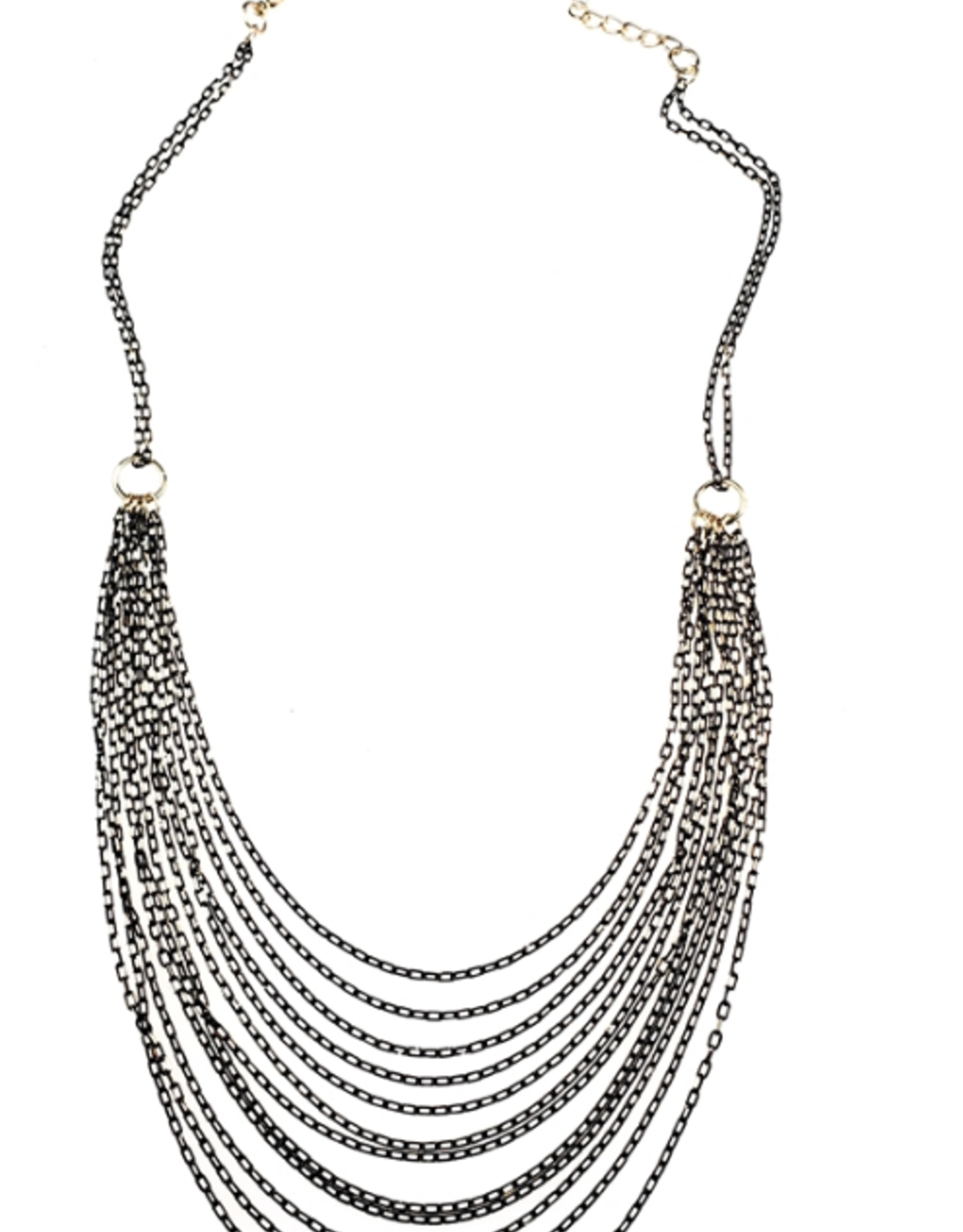 Sweet Lola Black and Gold Layered Chain Necklace