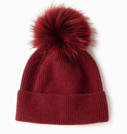 Look By M Cashmere Blended Ribbed Knit Pom Pom Beanie