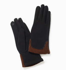 Look By M Two Tone Knit Trim Gloves