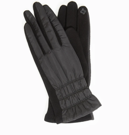 Look By M Striped Stitch Puffer Gloves