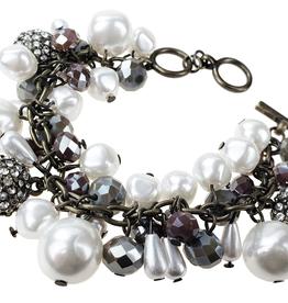 Sweet Lola Antique Bronze Pearl Beaded Bracelet