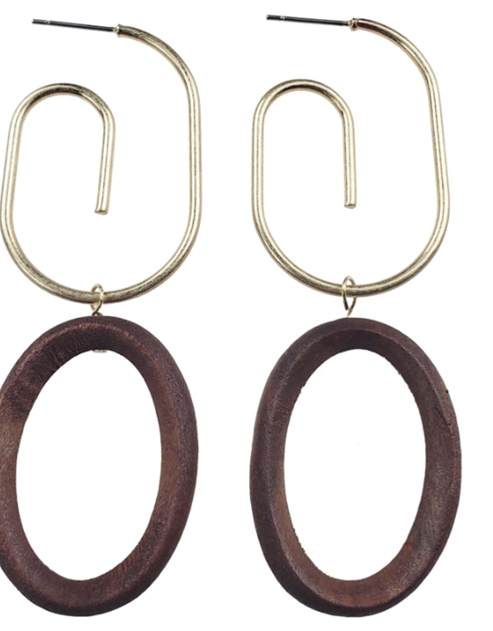 Sweet Lola Gold Swirl Wood Oval Earrings