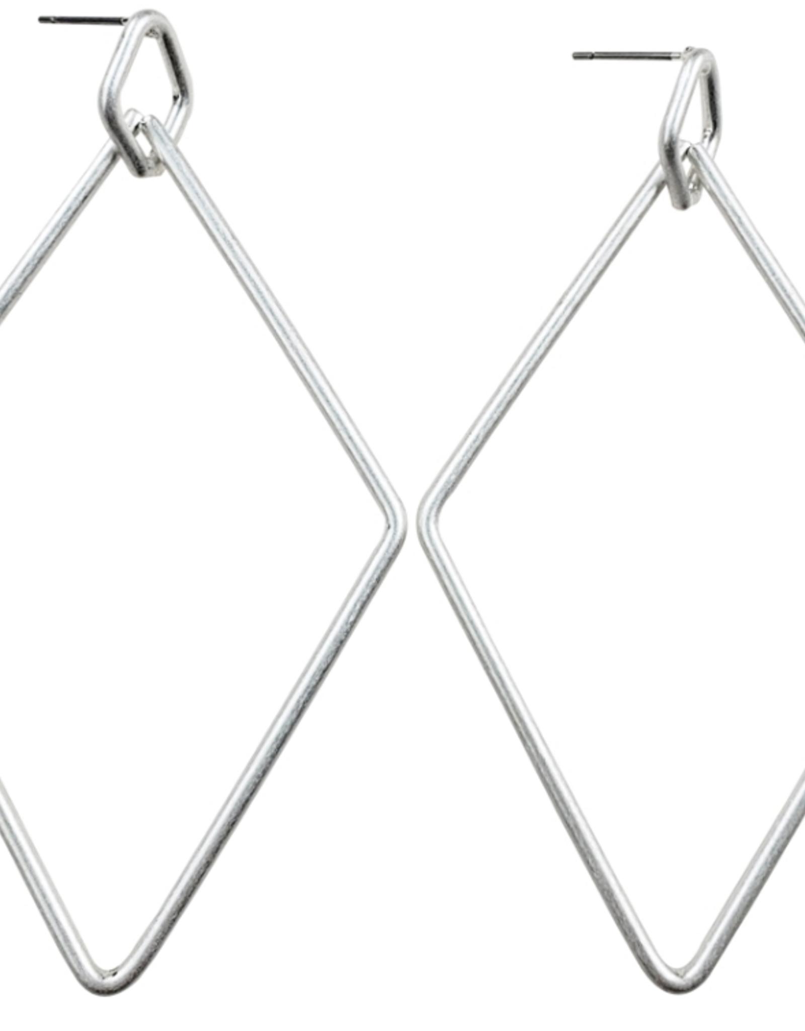 Sweet Lola Diamond Shape Silver Hoop Earring