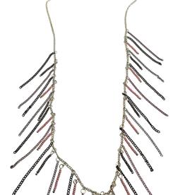 Sweet Lola Multi Tone Chain Fringe Necklace