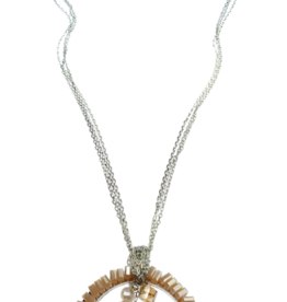 Sweet Lola Crystal Circle with Bead Cluster Necklace
