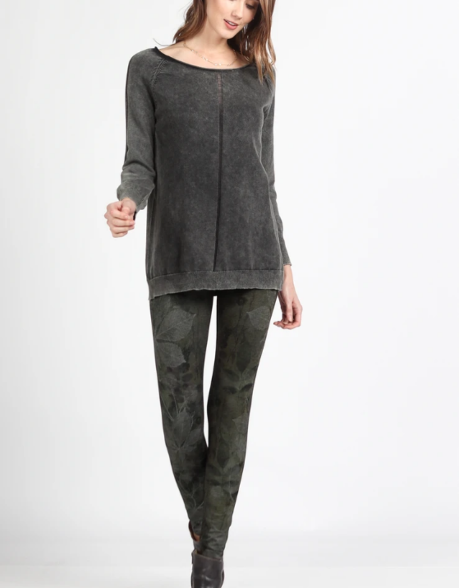 M Rena Mineral Wash Sweater with Open Knit Detail
