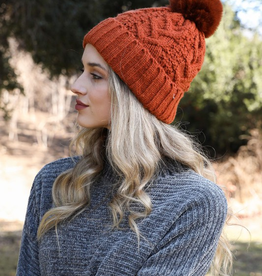 J Marcel Cable Knit Round Pom Beanie