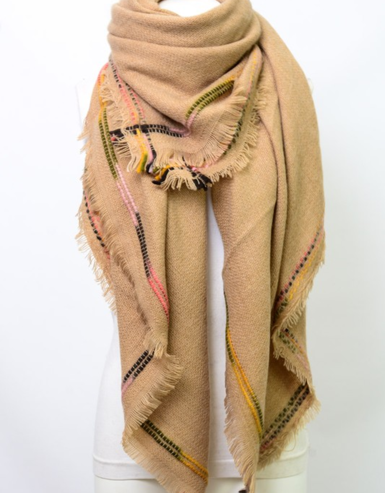 J Marcel Frayed Edge Trim Blanket Scarf
