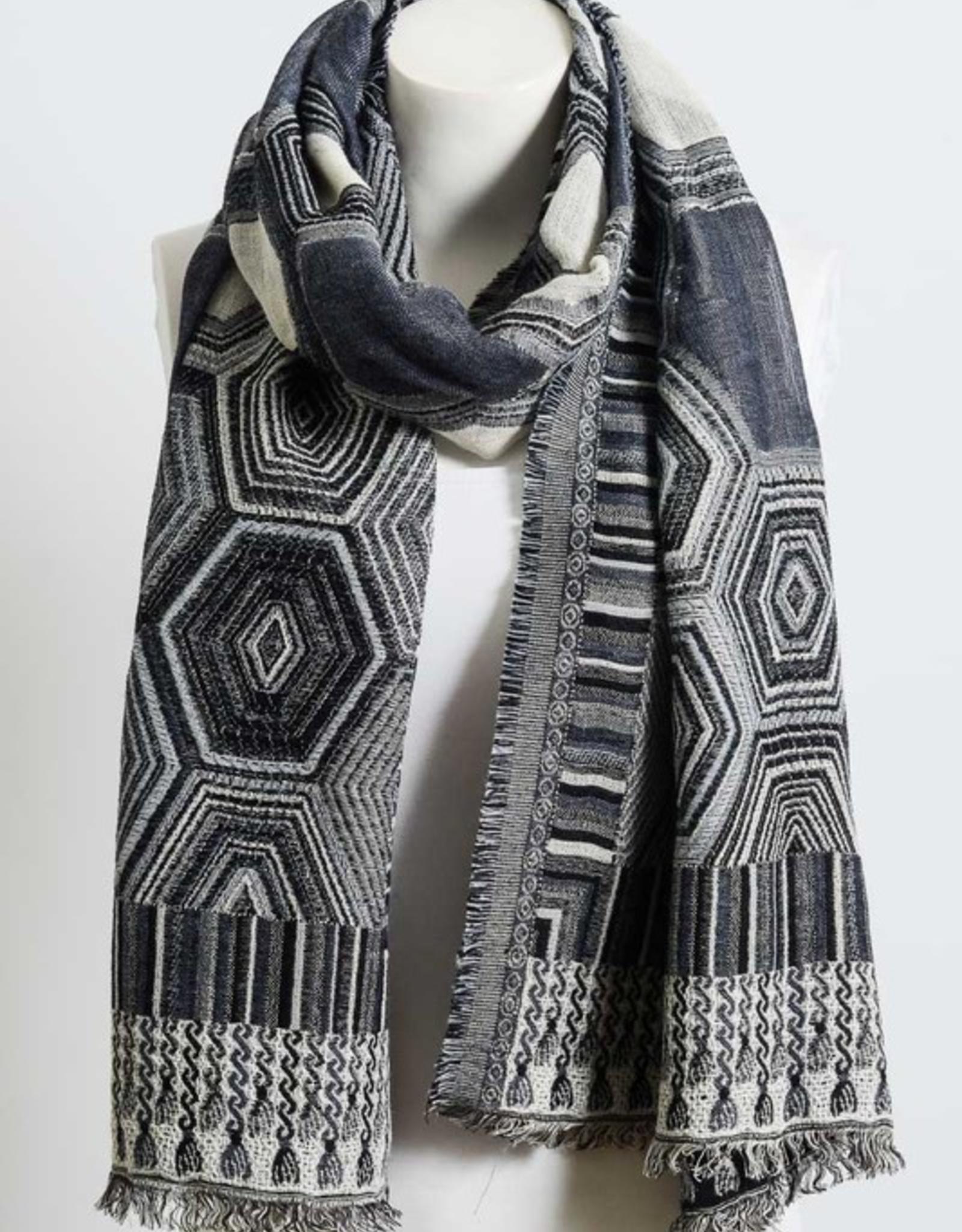J Marcel Geometric Tapestry Styled Frayed Edge Scarf