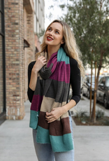 J Marcel Color Block Rib Knit Scarf