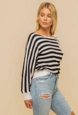 Hem & Thread Boat Neck Mixed Stripe Sweater