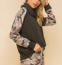 Hem & Thread Camo Trim Cowl Neck Sweatshirt