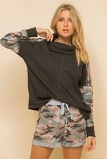 Hem & Thread Camo Trim Cowl Neck Sweatshirt
