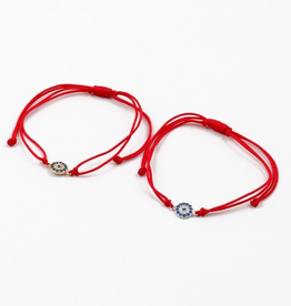 Blue Suede Jewels Round Evil Eye String Bracelet