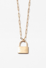Blue Suede Jewels Lock Necklace