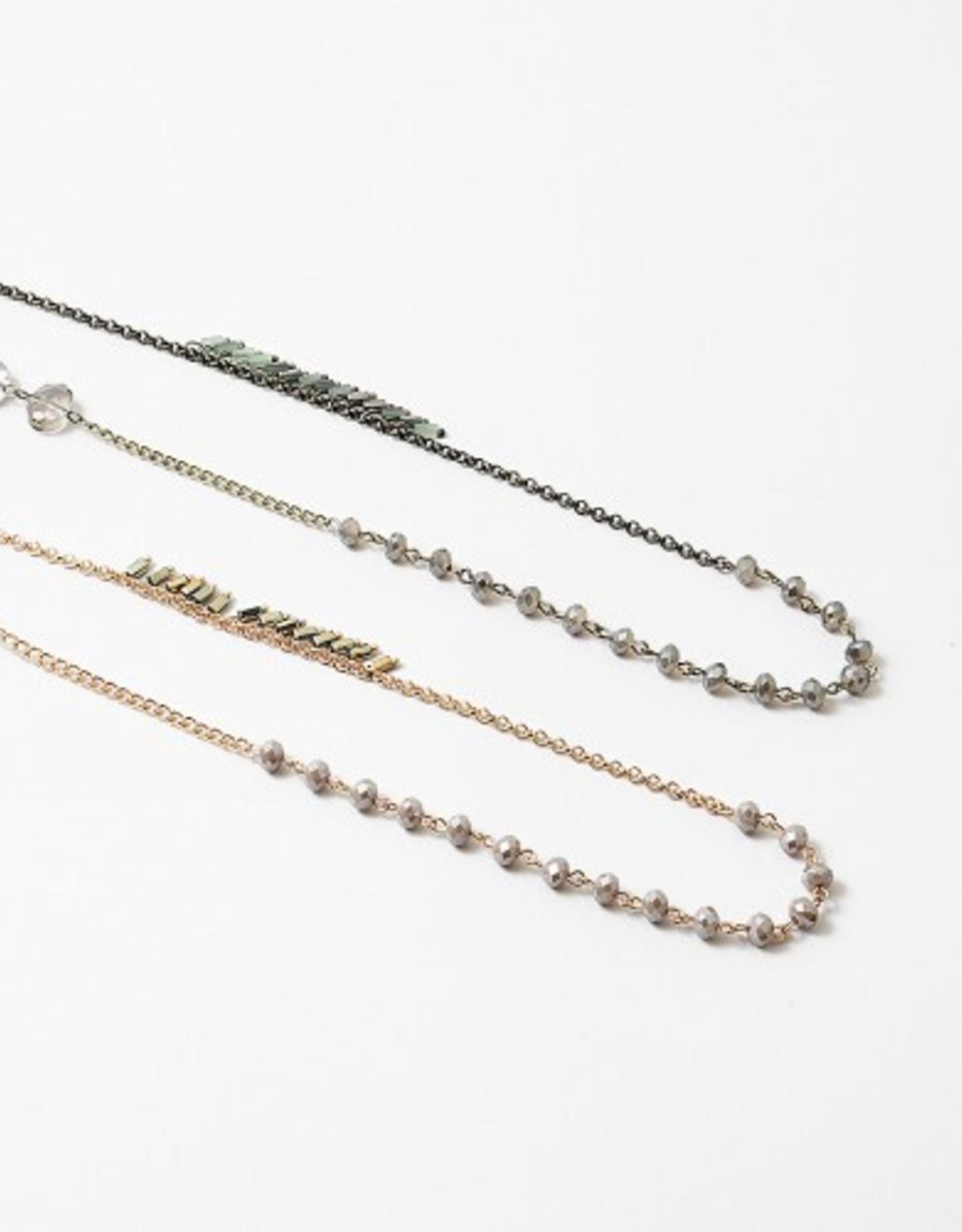 Blue Suede Jewels Tassel Crystal Necklace