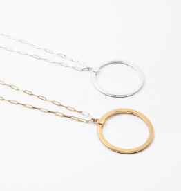 Blue Suede Circle Chain Link Necklace