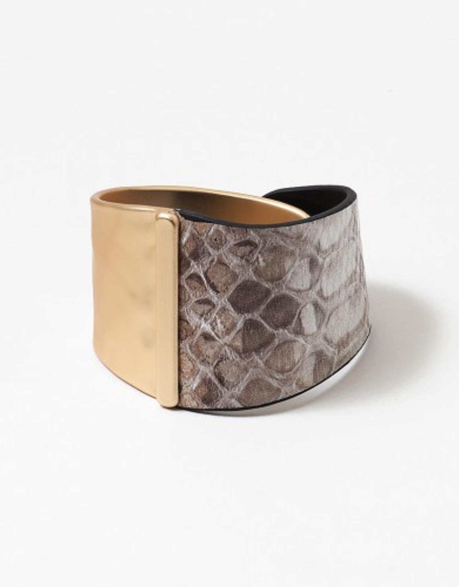 Blue Suede Jewels Leather Snake Skin Print Cuff Bracelet