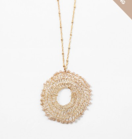 Blue Suede Jewels Gold & Champagne Wire Circle Pendant