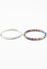 Blue Suede Square Stretch Bracelet