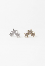 Blue Suede Jewels Triple Star Earrings