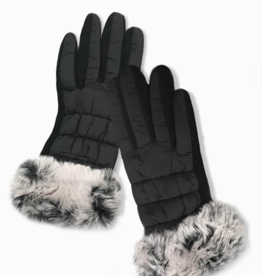 Blue Suede Jewels Faux Fur Trimmed Puffer Gloves