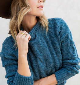 Love Stitch Teal Ribbed Cable Knit Sweater